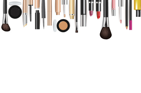 cosmetic product: Makeup cosmetics tools. Fashion vector background. Beauty isolated cosmetic product packaging. Makeup brush.
