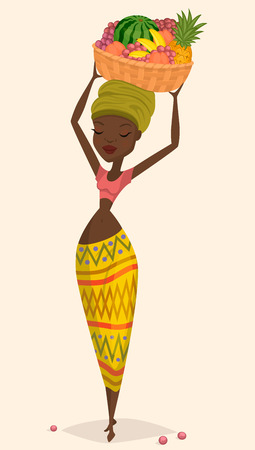 African woman farmer with harvest basket on her head. Vector character, cartoon style.