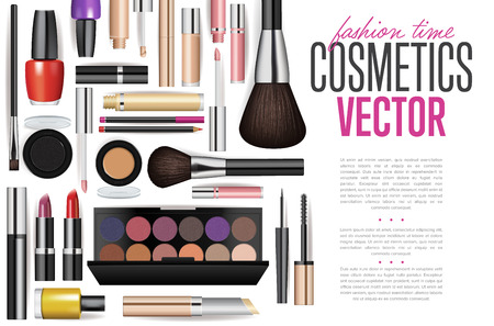 Makeup cosmetics tools. Fashion vector background. Beauty isolated cosmetic product packaging. Makeup brush.