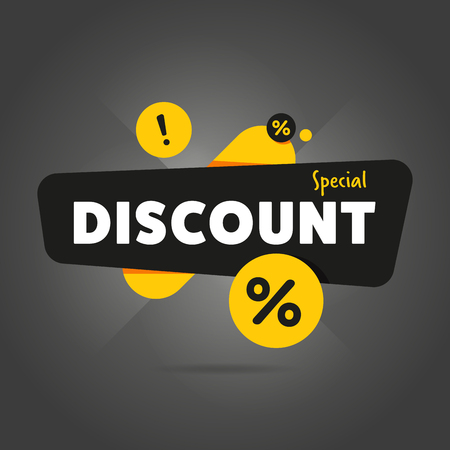 discount banner: Special discount advertisement promo banner flat abstract isolated vector illustration Illustration
