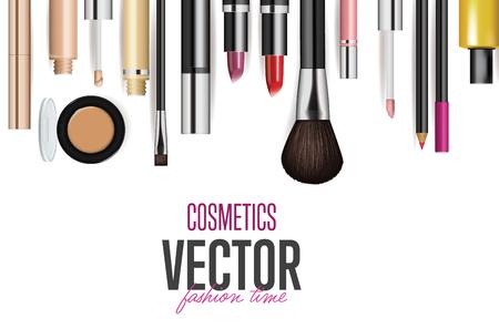 outils de cosmétiques de maquillage. vecteur de mode arrière-plan. Beauté isolé emballage de produits cosmétiques. Pinceau de maquillage.