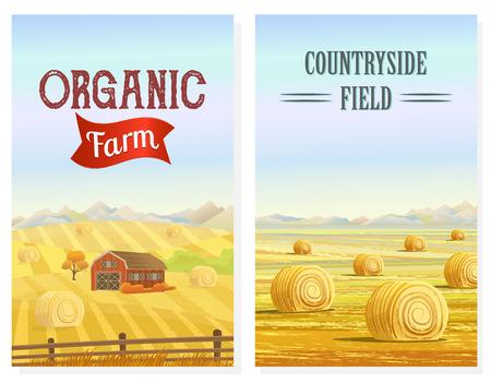 Platteland. Landelijk gebied. Velden met hooibergen. Land Landschap. Meadow achtergrond. Hooibalen. Boerenleven. Vector illustratie in cartoon-stijl.