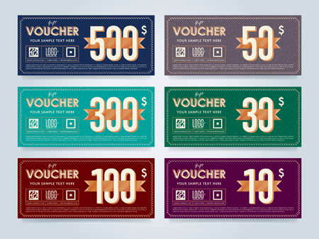 restaurant bill: Gift discount voucher template, vector layout. Special offer coupon. Business voucher layout. Illustration