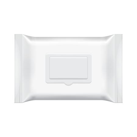 空白包装ウェットティッシュで孤立した白い背景。箔化粧品袋。パッケージ テンプレート。リアルな 3 d モックアップ。プラスチック パックのテン  イラスト・ベクター素材