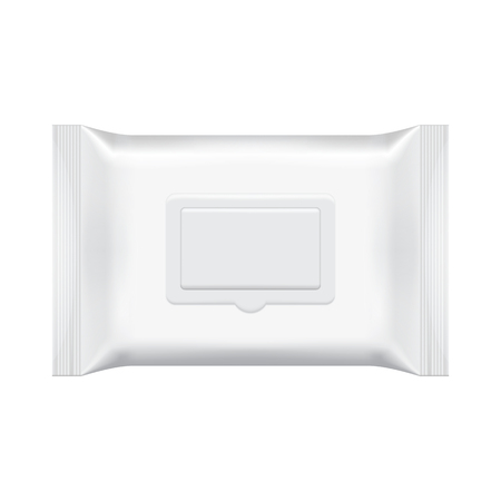 Lege verpakkingen natte doekjes op een witte achtergrond. Folie make-up tas. Package template. Realistische 3D-mockup. Plastic verpakking template. Klaar voor het ontwerp. Vector illustratie.