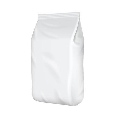 emballage blanc isolé sur fond blanc. Foil collation sac de nourriture pour le café, chips. modèle de package. maquette 3D réaliste. modèle de pack en plastique. Prêt pour la conception. Vector illustration. Vecteurs