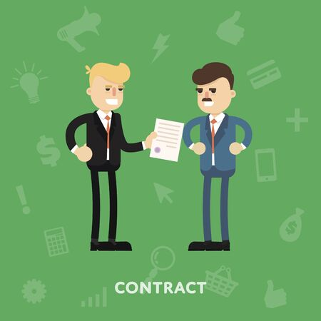 signing document: Two business partners signing a document flat abstract isolated vector illustration Illustration