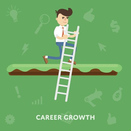 improving: Improving the corporate ladder professional growth flat abstract isolated vector illustration