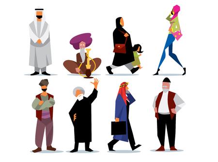 Middle eastern people isolated on white background. Arab, saudi, muslim. Islamic style. Vector illustration.