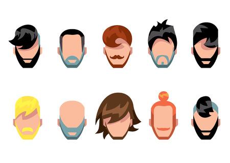 style goatee: Hair style, beard and mestache avatart collection, vector illustration