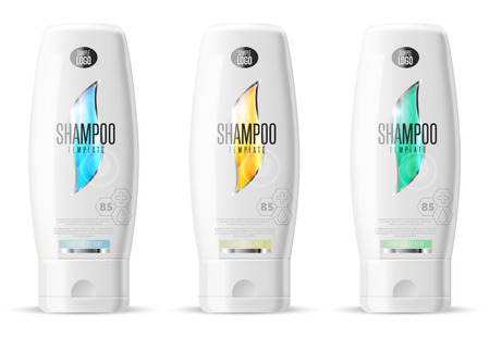 medical shower: Shampoo design pack. Cosmetic brand template. Vector packaging. Body care product. Realistic bottle mock up set. Isolated pack on white background.
