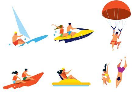 people having fun: Beach activities. Summer water fun. Happy people having fun. Sea vacation. Happy holiday. Outdoor leisure.