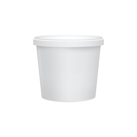 Yogurt container isolated on white background. Blank box ice cream or dessert. Plastic container for liquid milk products. 3d realistic packaging. Vector illustration.