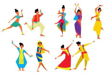 bharatanatyam: Indian dancers vector illustration. Cartoon style. Traditional Indian dances. Asian culture. Different poses. National Indian costume.