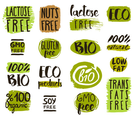 soy free: Healthy food icons, labels.  vegetarian restaurant menu. Vector illustration. Lactose free sign. Low fat stamp. Soy free. Eco product. Illustration