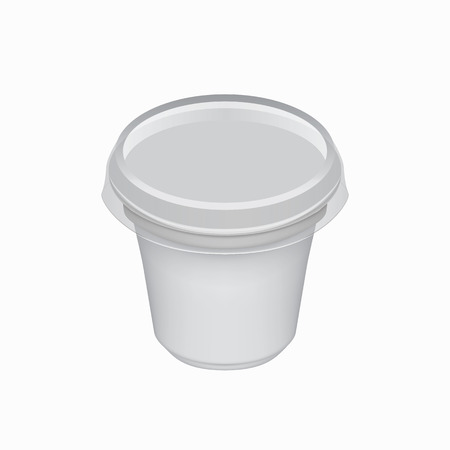 yoghurt: Yogurt container isolated on white background. Blank box ice cream or dessert. Plastic container for liquid milk products. 3d realistic packaging. Vector illustration.
