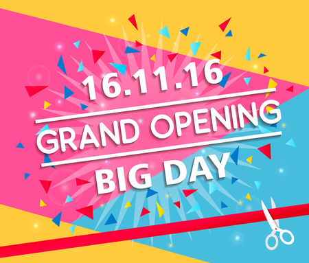 Grand opening celebration banner design vector illustration