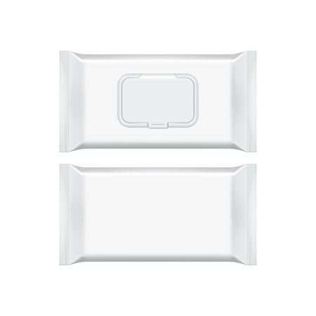 lingettes humides d'emballage blanc isolé sur fond blanc. Déjouez sac à cosmétiques. modèle de package. maquette 3D réaliste. modèle de pack en plastique. Prêt pour la conception. Vector illustration.