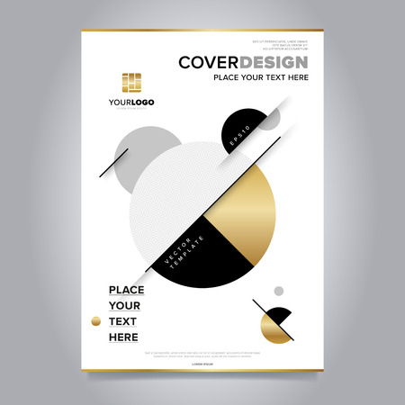 Gold annual report design template vector. Brochure cover presentation abstract flat background. Leaflet layout. Corporate document.