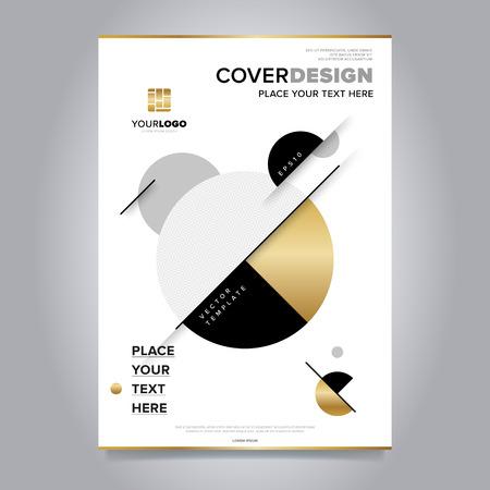 Gold jaarverslag design template vector. Brochure cover presentatie abstracte vlakke achtergrond. Folder lay-out. Collectief document.