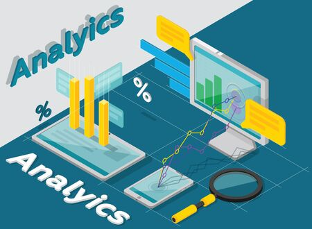 optimizing: Analytics of concept, research, results, performance. Raster isometric. Business research. Optimizing Internet. Charts isometric. Raster illustration.