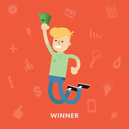 rejoices: Man rejoices win with money in hands of the winner concept flat abstract isolated vector illustration