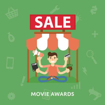 novelties: Sales cinema novelties flat abstract isolated vector illustration