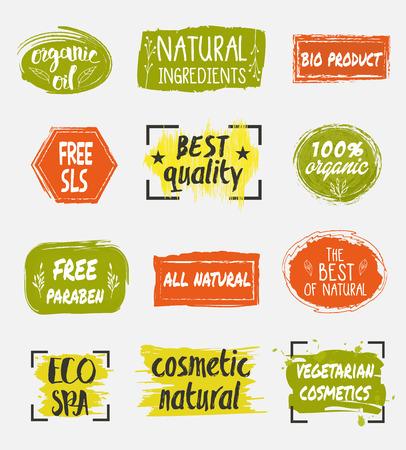 Natural organic cosmetic product labels set. Eco spa icon. Vegetarian cosmetics tag. Free sls.
