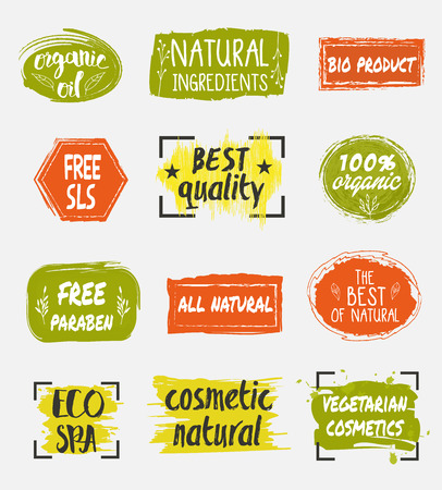 Natural organic cosmetic product labels set. Eco spa icon. Vegetarian cosmetics tag. Free sls.