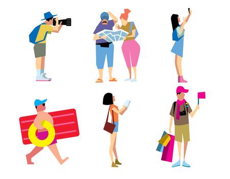 niño con mochila: Viajar por la gente. turística divertida. Pareja de viaje. De viaje y el hombre y la mujer vacaciones. El horario de verano. Vectores
