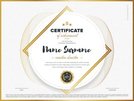 Certificaat vector template. Diploma design. Afstuderen, prestatie, succes.