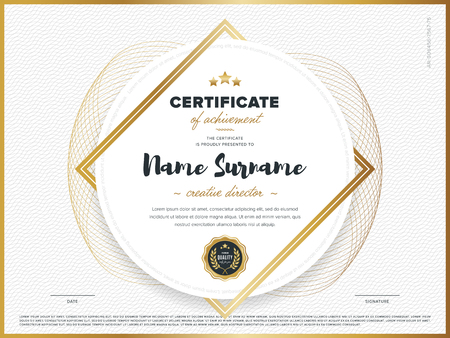 Certificate vector template. Diploma design. Graduation, achievement, success.
