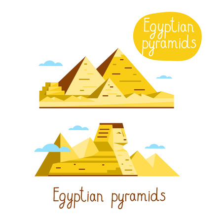 egyptian pyramids: Egyptian pyramids. Famous world landmarks icon concept. Journey around the world. Tourism and vacation theme. Modern design flat vector illustration. Illustration