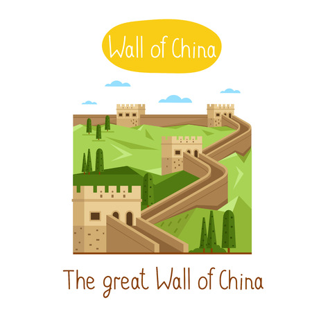 great: The Great Wall of China. Famous world landmarks icon concept. Journey around the world. Tourism and vacation theme. Modern design flat vector illustration.