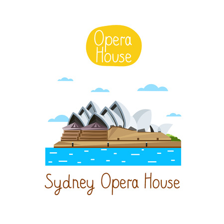 Sydney Opera House, Famous world landmarks icon concept. Journey around the world. Tourism and vacation theme. Modern design flat vector illustration.