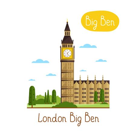 london big ben: London Big Ben. Famous world landmarks icon concept. Journey around the world. Tourism and vacation theme. Modern design flat vector illustration. Illustration