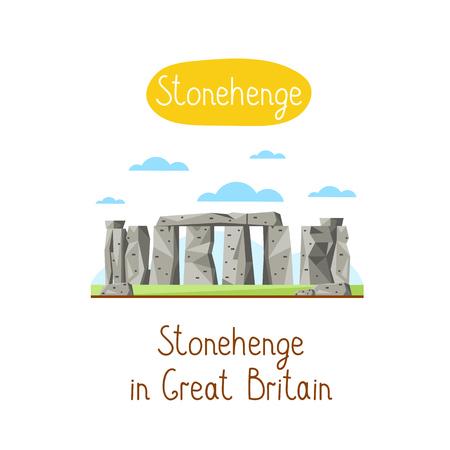stonehenge: Stonehenge in Great Britain. Famous world landmarks icon concept. Journey around the world. Tourism and vacation theme. Modern design flat vector illustration. Illustration