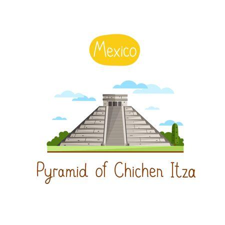 itza: Pyramid of Chichen Itza. Famous world landmarks icon concept. Journey around the world. Tourism and vacation theme. Modern design flat vector illustration.