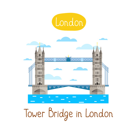 brige: Tower Brige in London. Famous world landmarks icon concept. Journey around the world. Tourism and vacation theme. Modern design flat vector illustration.