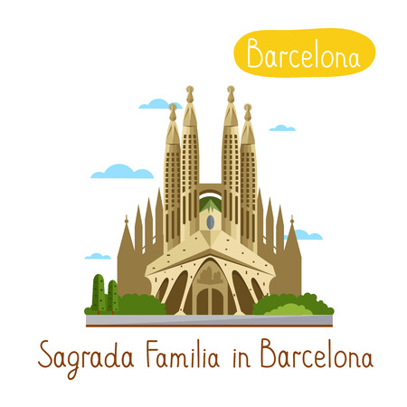 sagrada familia: Sagrada Familia in Barcelona. Famous world landmarks icon concept. Journey around the world. Tourism and vacation theme. Modern design flat vector illustration.