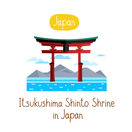 shinto: Itsukushima Shinto Shurine in Japan. Famous world landmarks icon concept. Journey around the world. Tourism and vacation theme. Modern design flat vector illustration.