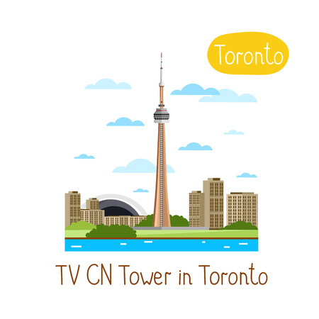tv tower: TV CN Tower in Toronto. Famous world landmarks icon concept. Journey around the world. Tourism and vacation theme. Modern design flat vector illustration. Illustration
