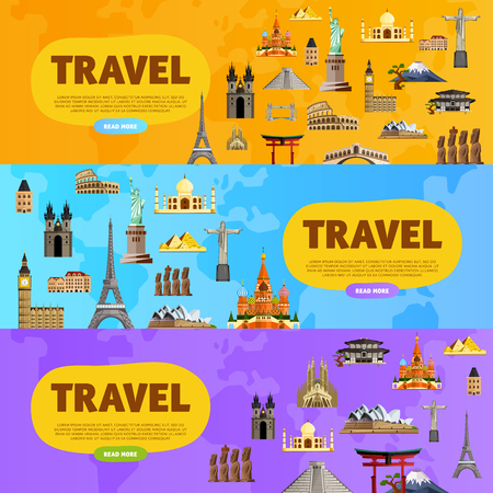 Travel the world. Monument concept. Landmarks on the globe. Tourism and vacation theme. Travelling vector illustration. Modern flat design. Famous world landmarks icons. Journey around the world.
