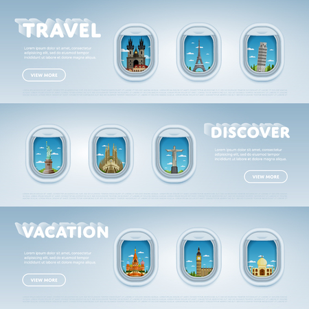 pise: Traveling by plane. Landmarks in the window. Travel the world. Tourism and vacation theme. Modern flat design. Famous world landmarks icons. Journey around the world.