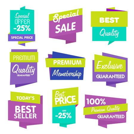 product quality: Big Set of Vector Label, Sticker, Tags. Collection Colorful Abstract Label and Sticker. Blank Label of Modern Style. Best seller, eco product, quality and other icon.