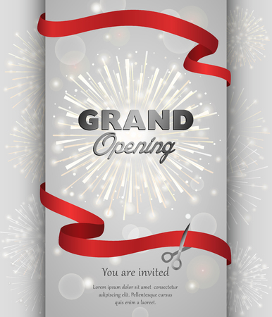 Grand opening celebration banner design vector illustration. Ribbon cutting ceremony. Vectores