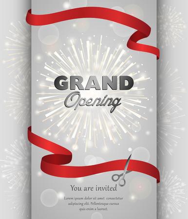 Feestelijke opening viering banner ontwerp vector illustratie. Lint doorknippen. Stock Illustratie
