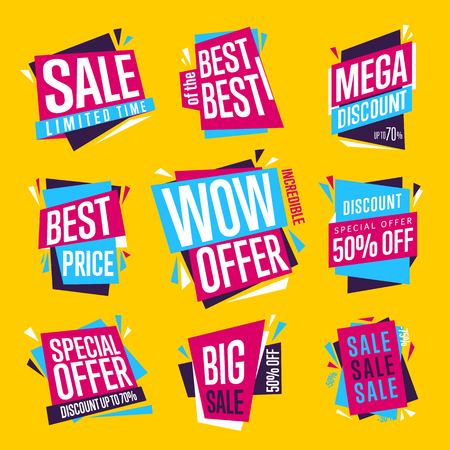 Sale isolated banners set. Best price badge. Big sale, best of the best, special offer tag. Advertisement symbol. Collection of sale labels. Vector illustration of flat design style.