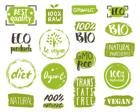 Healthy food icons, labels. Organic tags. Natural product elements. Logo for vegetarian restaurant menu. Vector illustration. Lactose free sign. Low fat stamp. Soy free. Eco product. Illustration