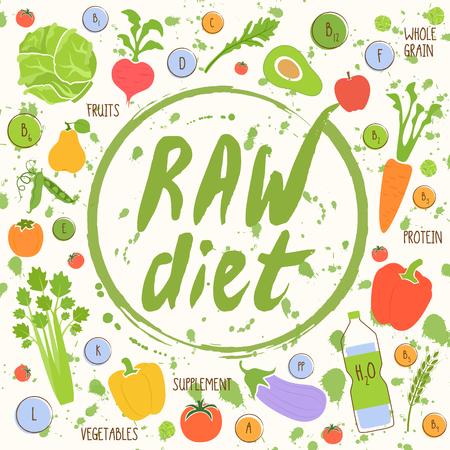 natural food: Vegan diet. Healthy food background fresh vegetable and fruit vector illustration. Vegetarian menu elements. Natural food concept. Illustration
